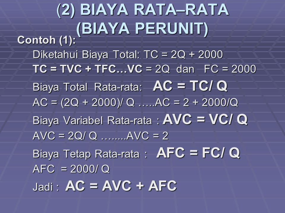 (2) BIAYA RATA–RATA (BIAYA PERUNIT)