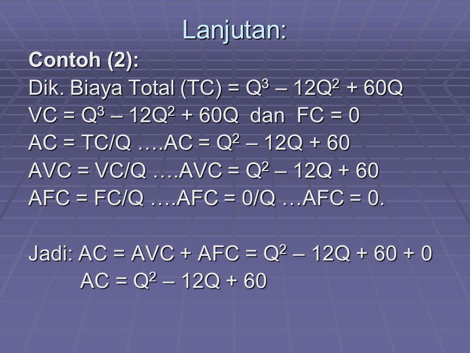 Lanjutan: Contoh (2): Dik. Biaya Total (TC) = Q3 – 12Q2 + 60Q