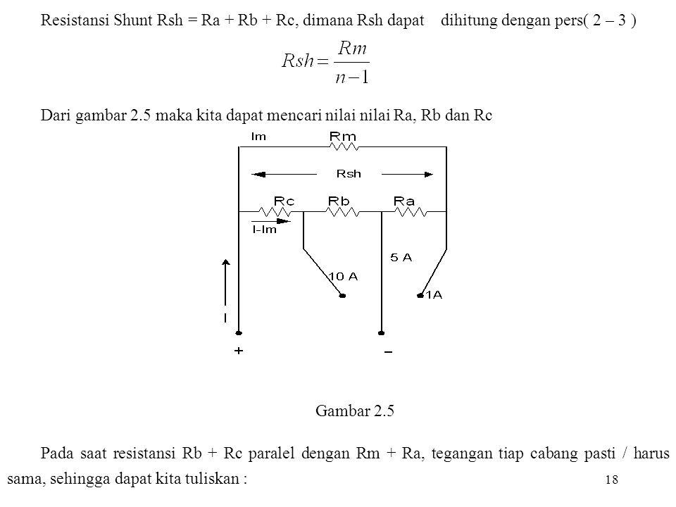 Dari gambar 2.5 maka kita dapat mencari nilai nilai Ra, Rb dan Rc