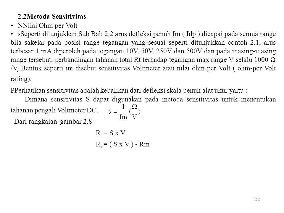 2.2Metoda Sensitivitas NNilai Ohm per Volt
