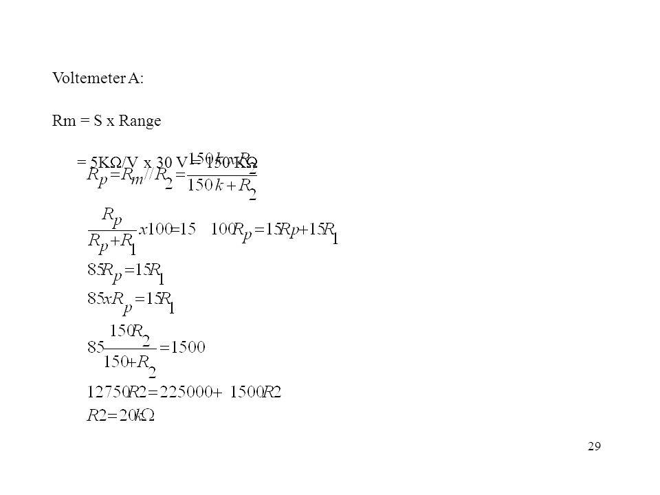 Voltemeter A: Rm = S x Range = 5KW/V x 30 V = 150 KW 29