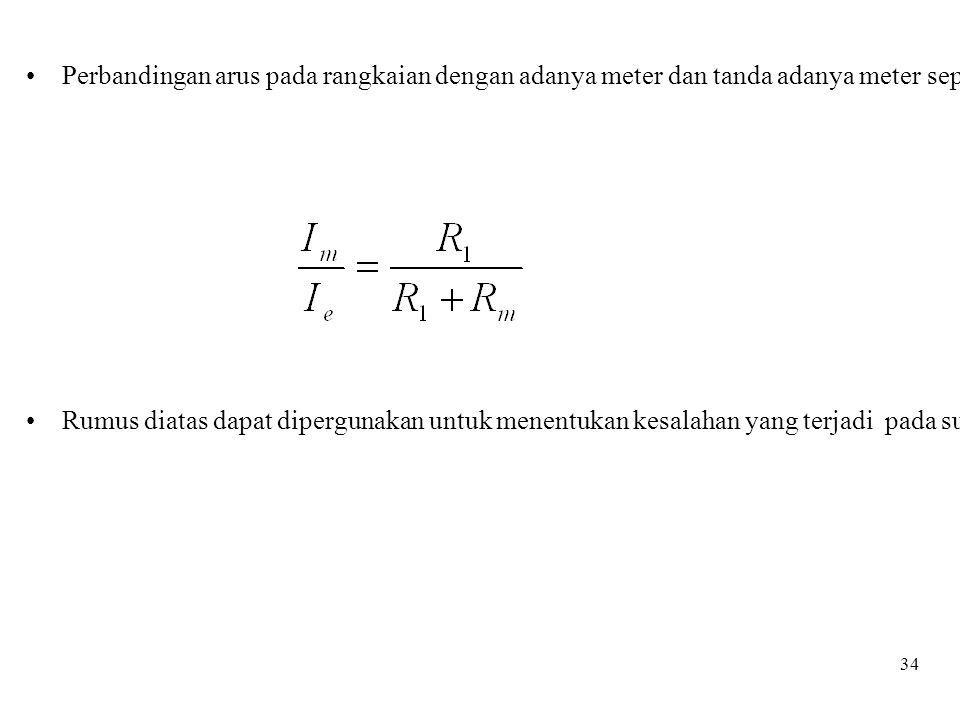 Perbandingan arus pada rangkaian dengan adanya meter dan tanda adanya meter seperti pada persamaan di bawah