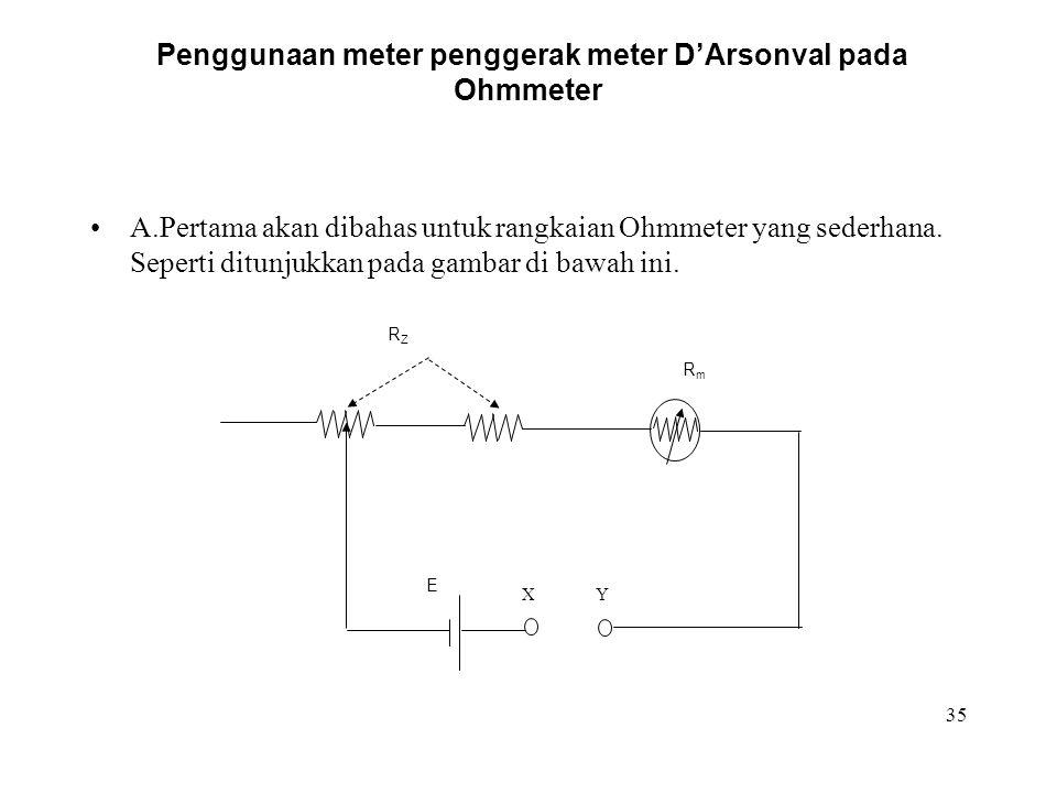 Penggunaan meter penggerak meter D'Arsonval pada Ohmmeter