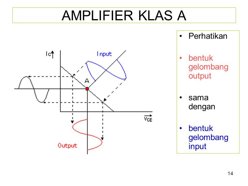 AMPLIFIER KLAS A Perhatikan bentuk gelombang output sama dengan