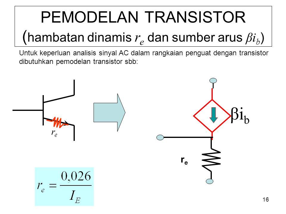 PEMODELAN TRANSISTOR (hambatan dinamis re dan sumber arus βib)