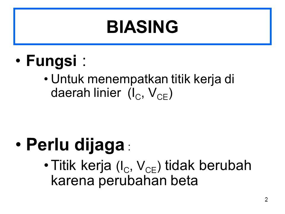 BIASING Perlu dijaga : Fungsi :