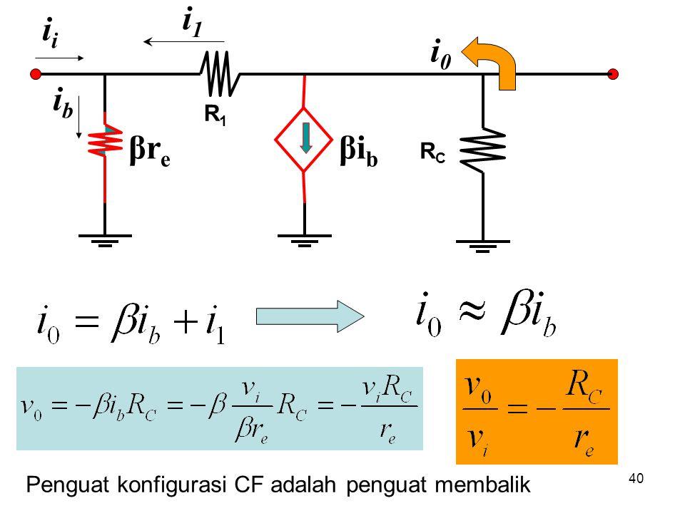 i1 ii i0 ib R1 βre βib RC Penguat konfigurasi CF adalah penguat membalik