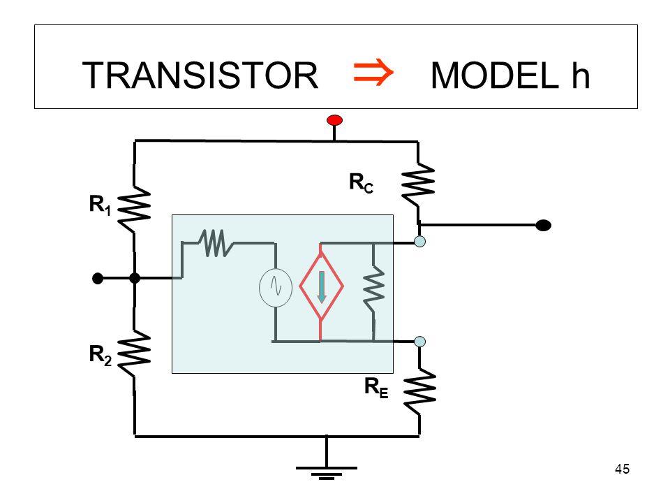 TRANSISTOR ⇒ MODEL h RC R1 R2 RE