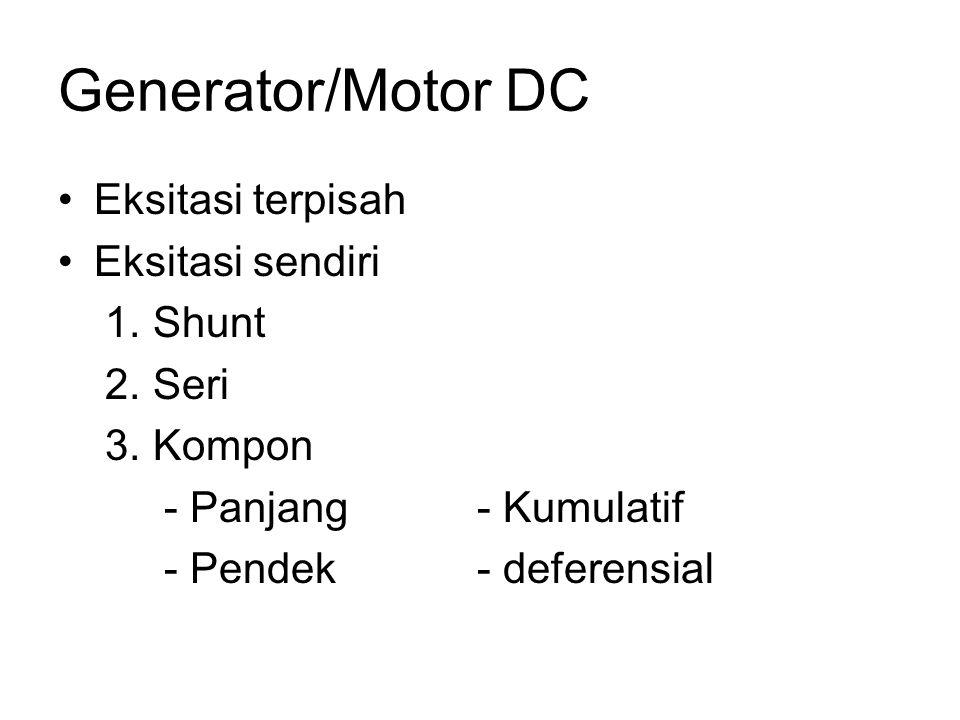 Generator/Motor DC Eksitasi terpisah Eksitasi sendiri 1. Shunt 2. Seri