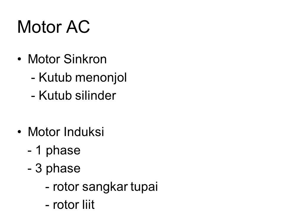 Motor AC Motor Sinkron - Kutub menonjol - Kutub silinder Motor Induksi
