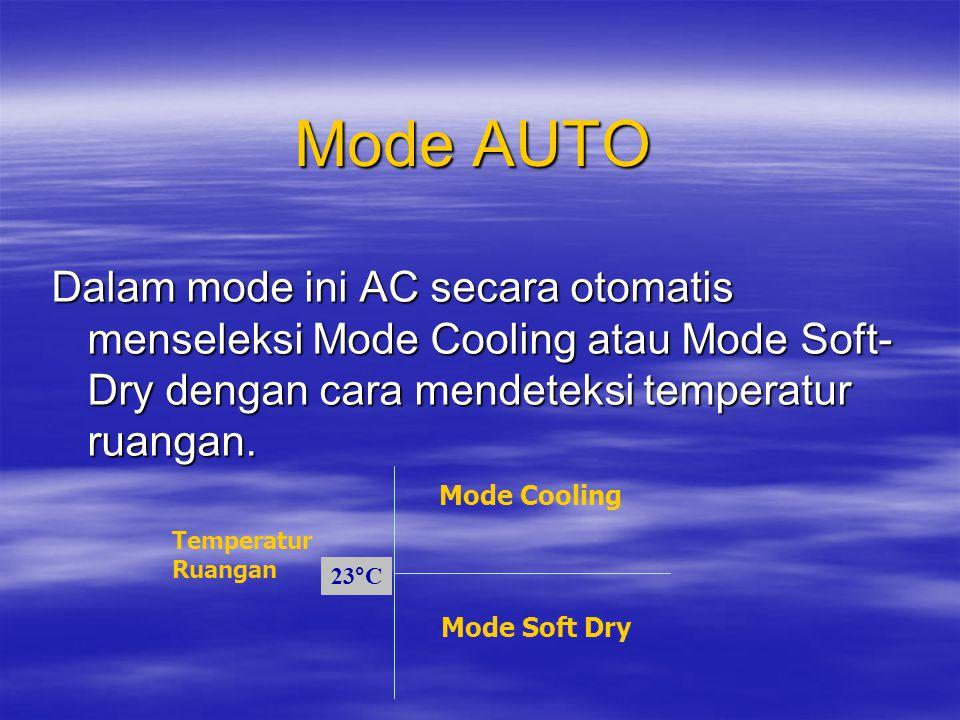 Mode AUTO Dalam mode ini AC secara otomatis menseleksi Mode Cooling atau Mode Soft-Dry dengan cara mendeteksi temperatur ruangan.
