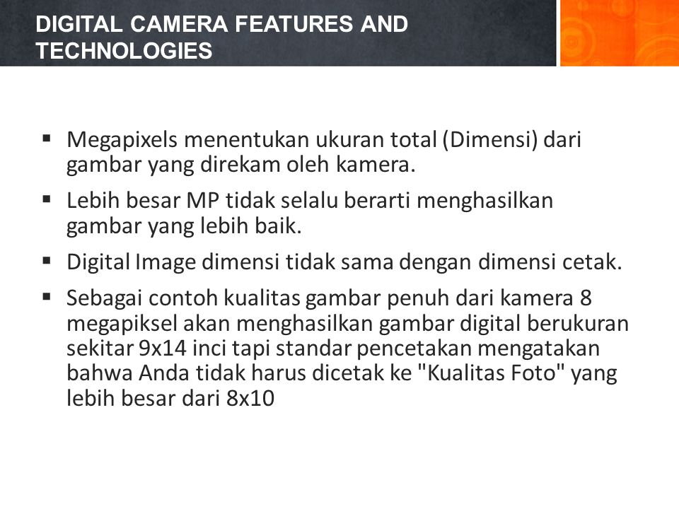 DIGITAL CAMERA FEATURES AND TECHNOLOGIES