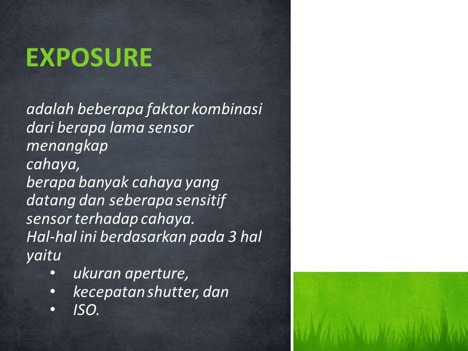 EXPOSURE adalah beberapa faktor kombinasi dari berapa lama sensor menangkap. cahaya,