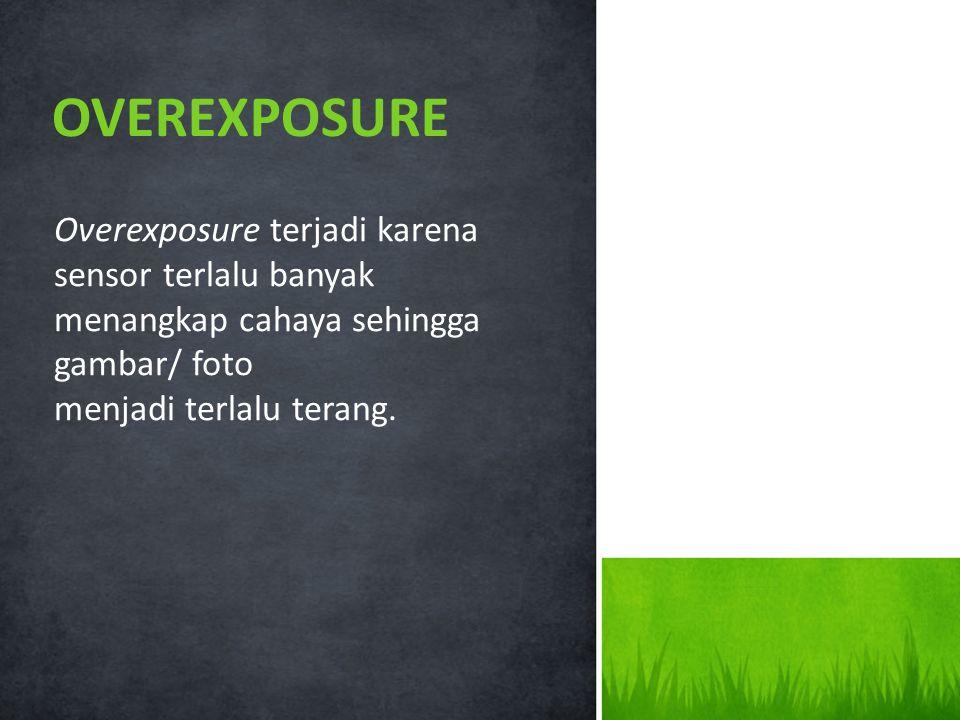 OVEREXPOSURE Overexposure terjadi karena sensor terlalu banyak menangkap cahaya sehingga gambar/ foto.