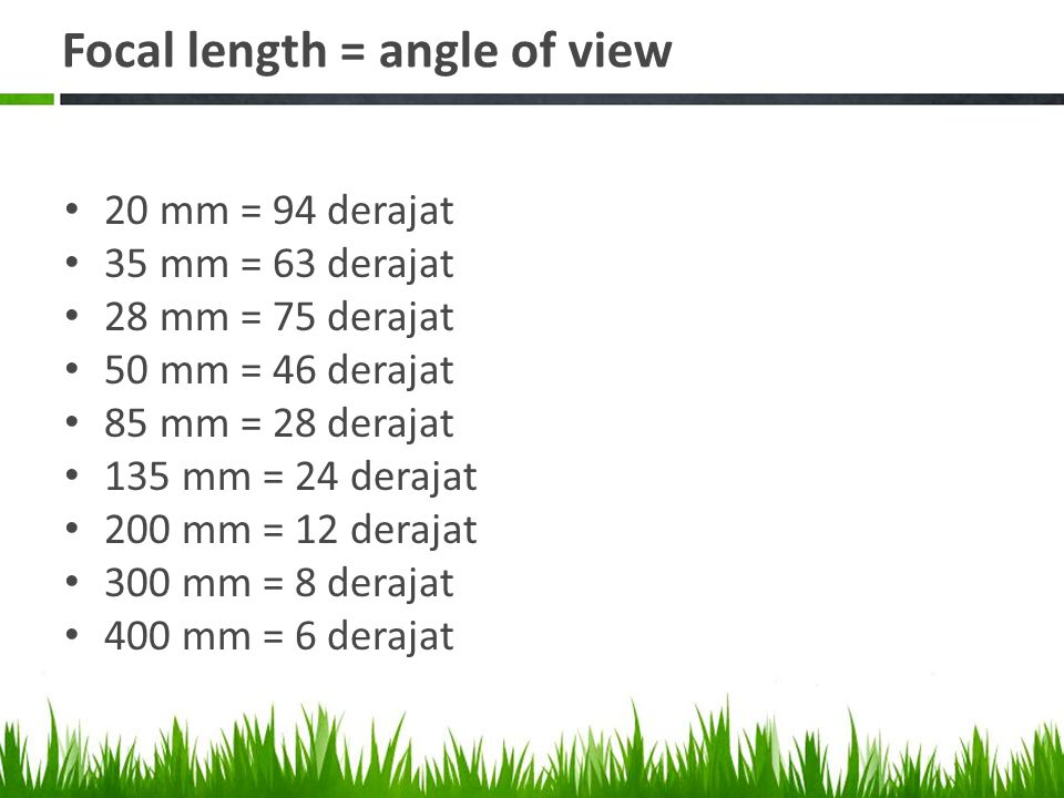 Focal length = angle of view