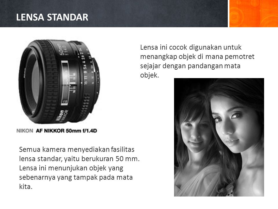 LENSA STANDAR Lensa ini cocok digunakan untuk menangkap objek di mana pemotret sejajar dengan pandangan mata objek.