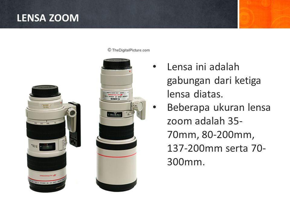 LENSA ZOOM Lensa ini adalah gabungan dari ketiga lensa diatas.