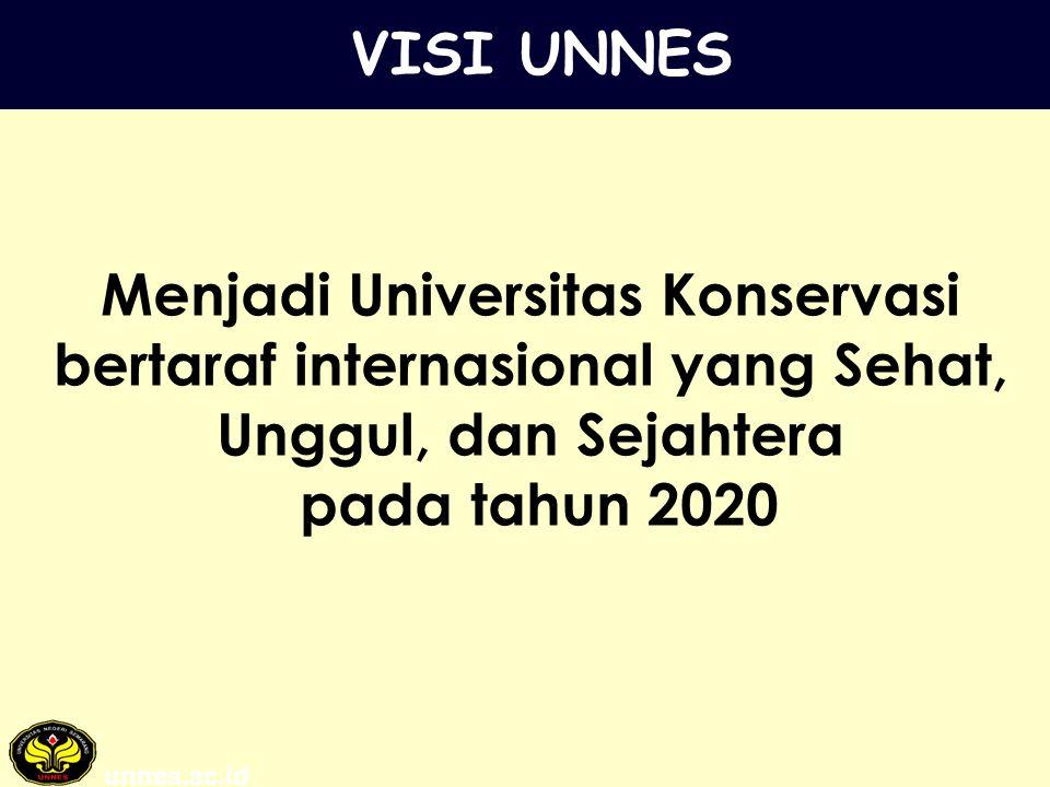 VISI UNNES Menjadi Universitas Konservasi bertaraf internasional yang Sehat, Unggul, dan Sejahtera.