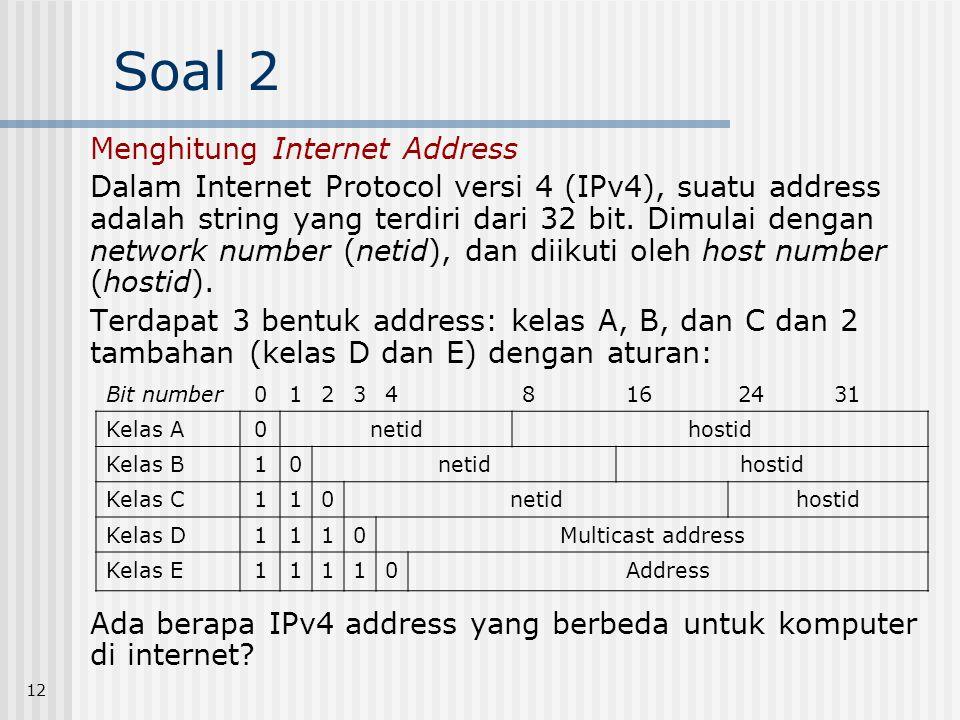 Soal 2 Menghitung Internet Address