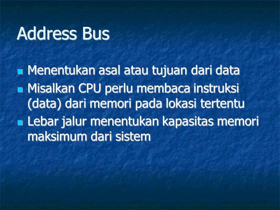Address Bus Menentukan asal atau tujuan dari data