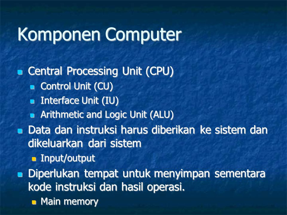 Komponen Computer Central Processing Unit (CPU)