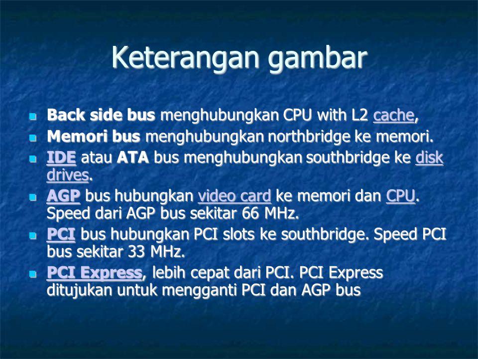 Keterangan gambar Back side bus menghubungkan CPU with L2 cache,