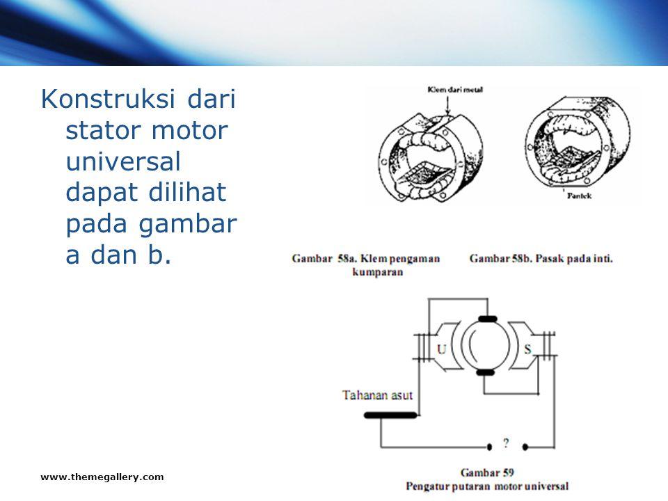 Konstruksi dari stator motor universal dapat dilihat pada gambar a dan b.