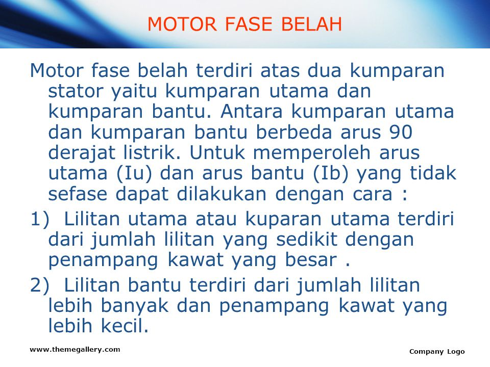 MOTOR FASE BELAH