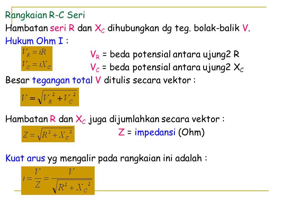 Rangkaian R-C Seri Hambatan seri R dan XC dihubungkan dg teg. bolak-balik V. Hukum Ohm I : VR = beda potensial antara ujung2 R.