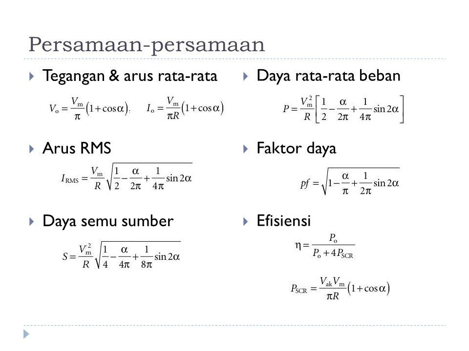 Persamaan-persamaan Tegangan & arus rata-rata Arus RMS