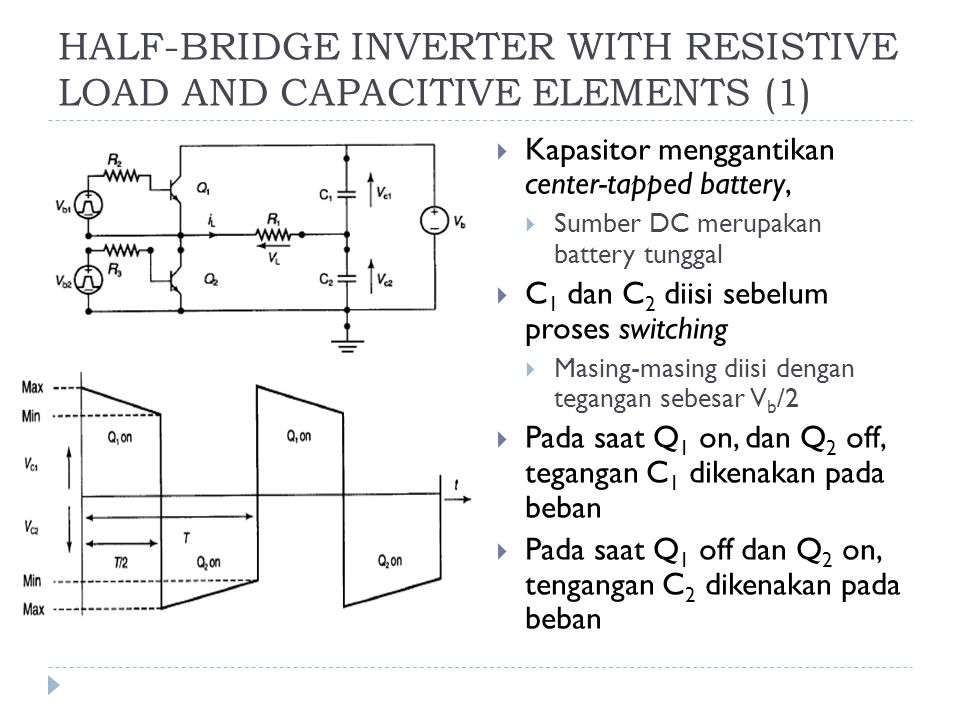 HALF-BRIDGE INVERTER WITH RESISTIVE LOAD AND CAPACITIVE ELEMENTS (1)