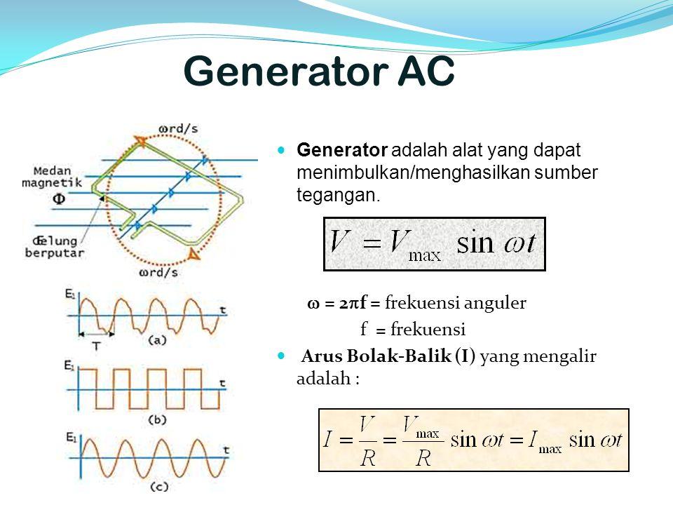 Generator AC Generator adalah alat yang dapat menimbulkan/menghasilkan sumber tegangan.  = 2f = frekuensi anguler.