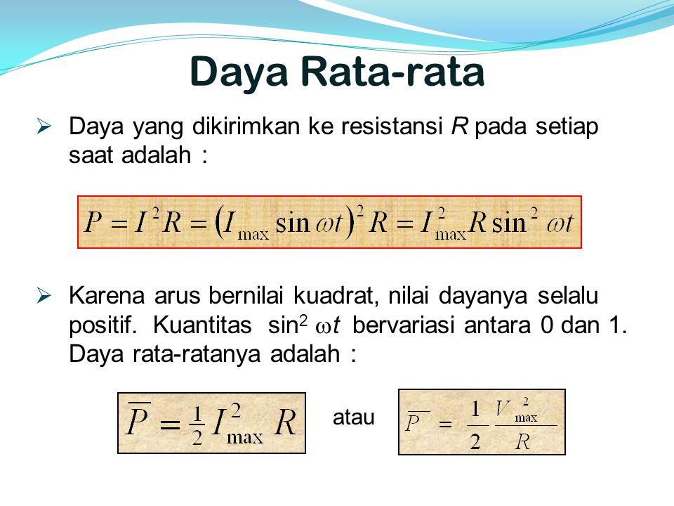 Daya Rata-rata Daya yang dikirimkan ke resistansi R pada setiap saat adalah :