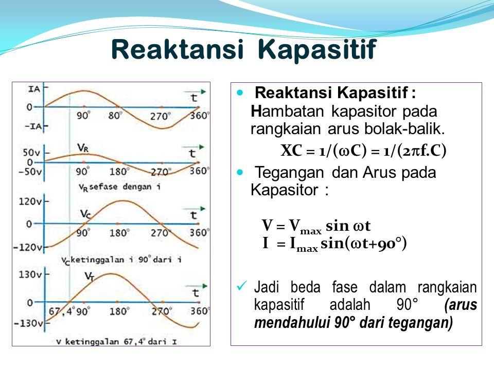 Reaktansi Kapasitif Reaktansi Kapasitif : Hambatan kapasitor pada rangkaian arus bolak-balik. XC = 1/(C) = 1/(2f.C)