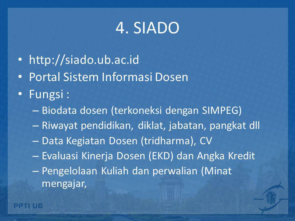 4. SIADO http://siado.ub.ac.id Portal Sistem Informasi Dosen Fungsi :