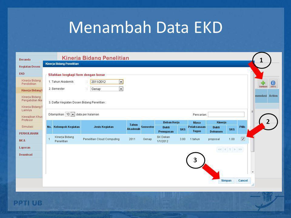 Menambah Data EKD 1 2 3