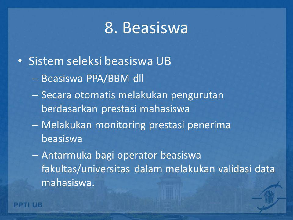8. Beasiswa Sistem seleksi beasiswa UB Beasiswa PPA/BBM dll