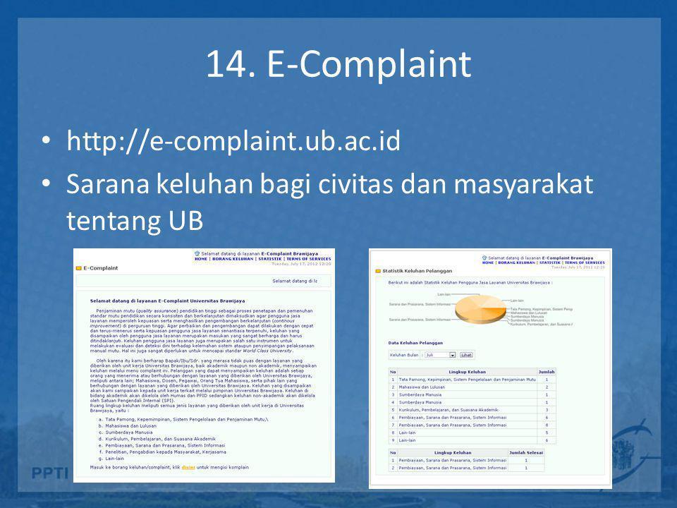 14. E-Complaint http://e-complaint.ub.ac.id