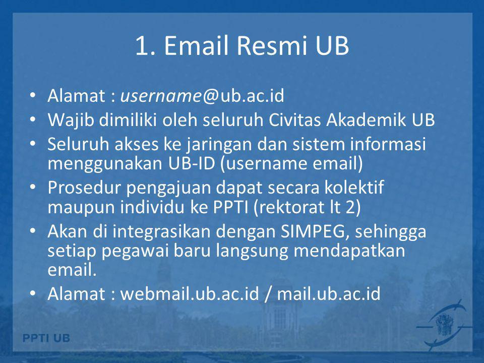 1. Email Resmi UB Alamat : username@ub.ac.id