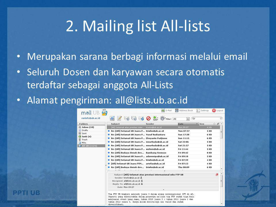 2. Mailing list All-lists