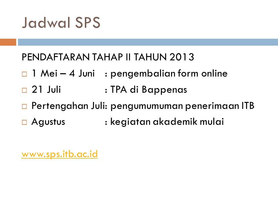 Jadwal SPS PENDAFTARAN TAHAP II TAHUN 2013