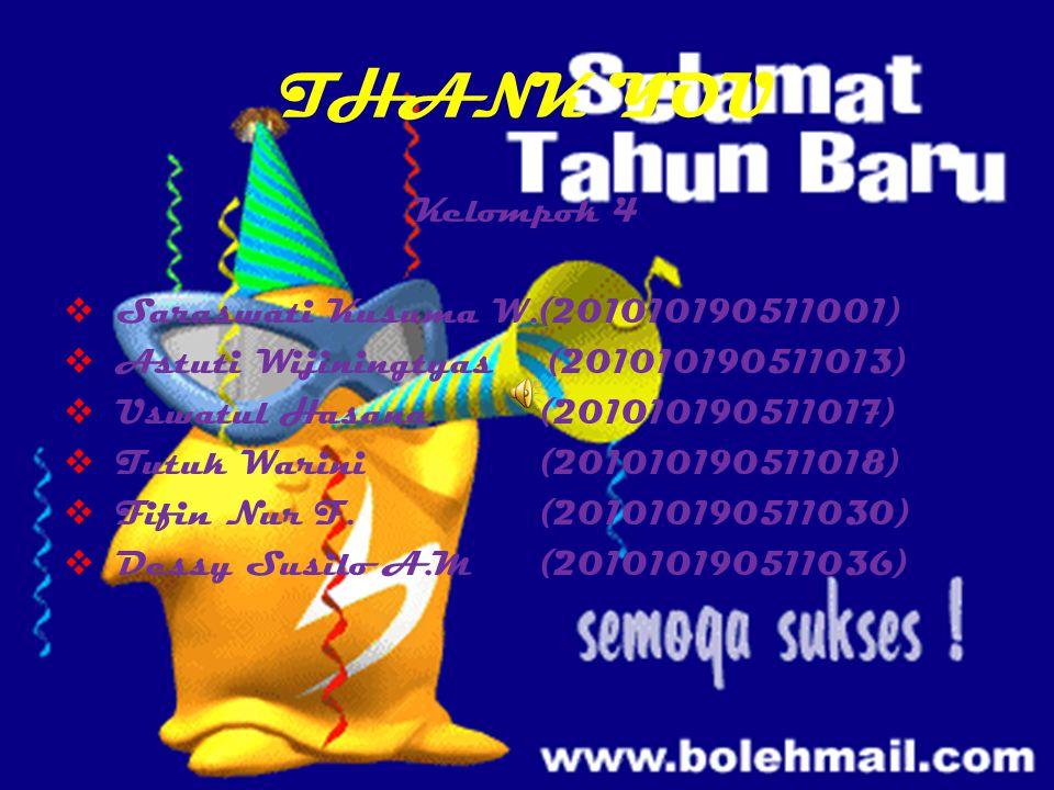 THANK YOU Kelompok 4 Saraswati Kusuma W.(201010190511001)