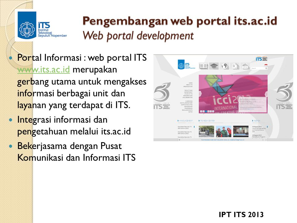 Pengembangan web portal its.ac.id Web portal development