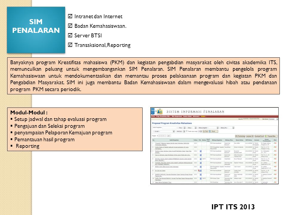 SIM PENALARAN IPT ITS 2013  Intranet dan Internet