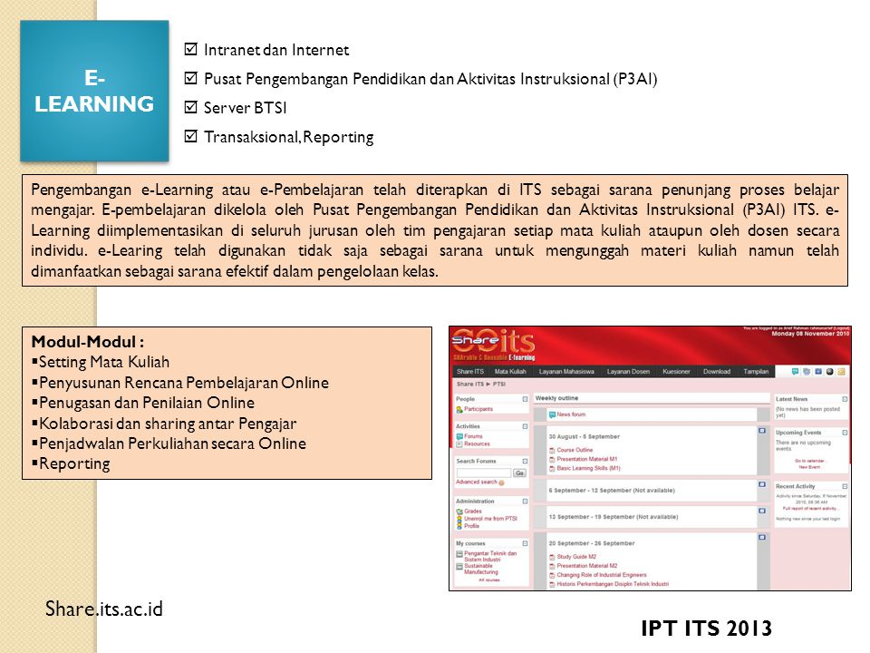 E-LEARNING Share.its.ac.id IPT ITS 2013  Intranet dan Internet