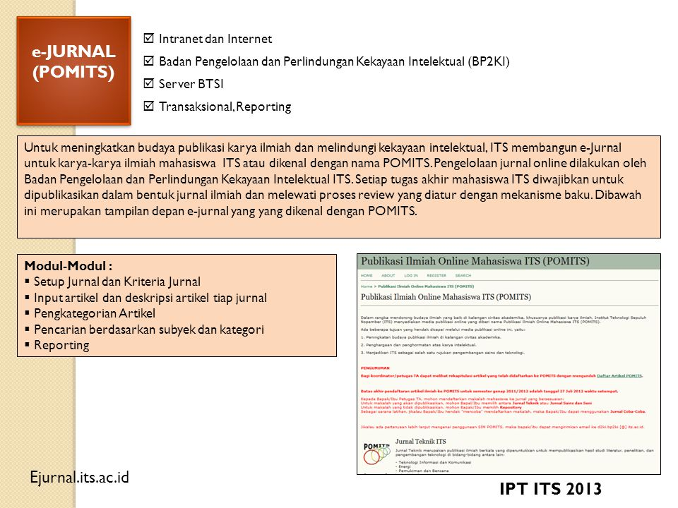 e-JURNAL (POMITS) IPT ITS 2013