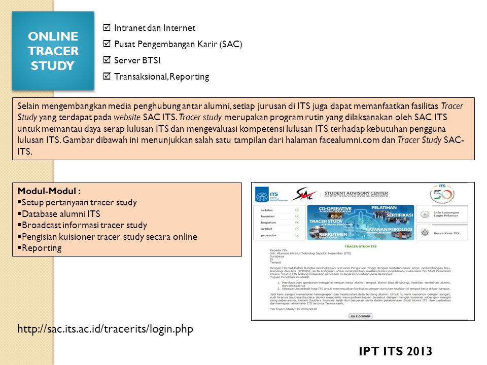 ONLINE TRACER STUDY IPT ITS 2013