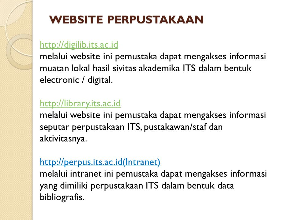 WEBSITE PERPUSTAKAAN http://digilib.its.ac.id