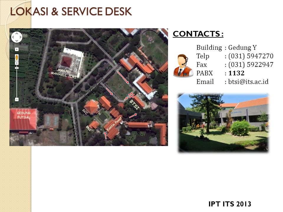 LOKASI & SERVICE DESK CONTACTS : Building : Gedung Y