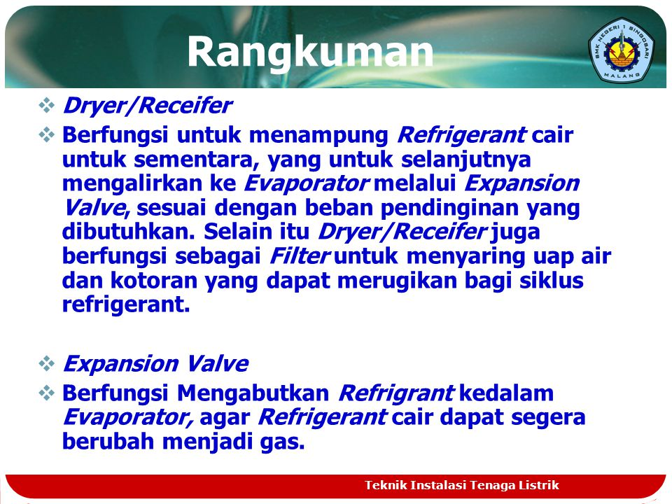 Rangkuman Dryer/Receifer